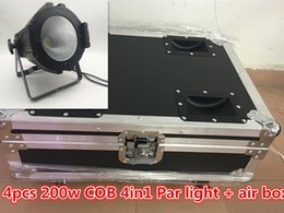 2019 luzes de caso de voo Flight Case + 4pcs New super brilhante 200W COB LED par luz RGBW 4in1 DMX discoteca DJ partido palco discoteca iluminação / porta do celeiro pode ser instalado luzes de caso de voo barato