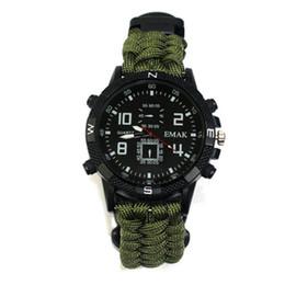 Equipo táctico al aire libre online-10in1 reloj táctico Paracord exterior Cuerda pulsera de supervivencia cuerda Reloj Survival Gear brújula silbato Reflector sos linterna termómetro