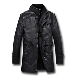 Полная кожаная куртка онлайн-ПУ кожаные куртки для мужчин кожезаменитель Бомер куртка толстый полиэстер полный рукав обычная длинный стиль пальто