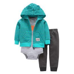 Giacche per animali da ragazzi online-Newborn Baby Boy Girl Clothes manica lunga giacca con cappuccio + pagliaccetto + pantaloni New Born Outfit Abbigliamento neonato Neonati Suit Animal 2019 J190427