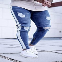 Pantalons trous latéraux en Ligne-Mode Hommes Ripped Skinny Jeans Denim effiloché trou Destroyed Slim Fit Pantalons Side Stripe Streetwear pantalon