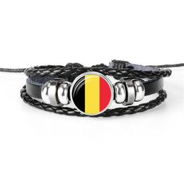 wholesale fashion football bracelet Promo Codes - Fashion Belgium National Flag World Cup Football Fan Time Gem Glass Cabochon Button Bracelet Black Leather Rope Beaded Jewelry for Women Men