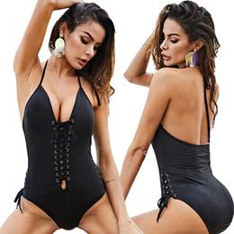 bikini-mode große größe Rabatt Summer Fashion New Damen Badeanzug Schwarz Sexy Straps Stitching Einteiliger Badeanzug Beach Vacation Big Size Bikini