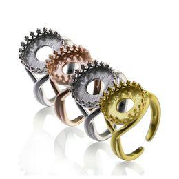 Ajustes únicos anillos de compromiso online-Venta al por mayor de ID32845 espacios únicos en blanco del anillo de la plata esterlina del compromiso 925 para la fabricación de la joyería