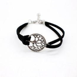 2019 segni di vita 2018 New Fashion Bohemian Multilayer in pelle scamosciata nera semplice braccialetto regolabile vita albero segno ciondolo bracciali braccialetti per le donne uomini sconti segni di vita