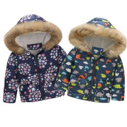 kids windproof jacket Promo Codes - 2019 Toddler Baby Girl Boy Cute Coat Floral Dinosaur Winter Warm Jacket Hooded Windproof Coat Fashion Children Kids Soft