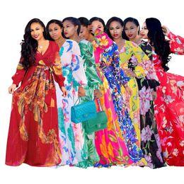 Vestidos impresos cinturones online-Boho impreso gasa vestidos largos de las mujeres con cuello en v manga larga con cinturón vestido de fiesta de noche suelta vintage beach maxi dress