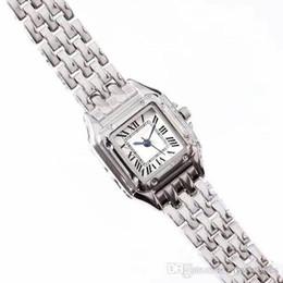 Meninas de marca alta assistir on-line-Alta qualidade Top marca mulheres vestido relógios luxo Suqare Dial completa faixa de aço inoxidável relógio de quartzo casual para laides menina feminino melhor presente
