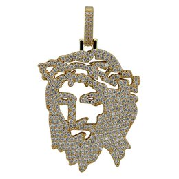 Solid Back Iced Out JESUS Christ Piece Head Face Pendants Necklaces Hip Hop Gold Silver Chain for Men Women Jewelry от
