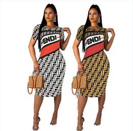américa roupas por atacado Desconto Vestido 2019 europa e américa roupas femininas f carta impressão dress moda sexy slim fit mid saia novo estilo atacado
