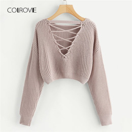 Suéter de invierno de corea online-COLROVIE Pink Korean Criss Cross V Back Winter Crop Sweater de punto Ropa de mujer 2018 Otoño Pullover Jumper Ladies Sweaters