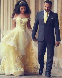 2019 élégant jonquille arabe Prom robes sur l'épaule dentelle fleurs Appliqued perlé Zuhair Murad longues robes de soirée formelle robe de fiançailles ? partir de fabricateur