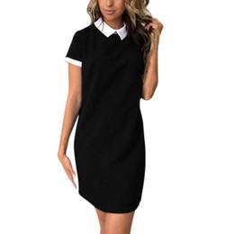 59b943d9fe46 Summer Casual Women School Style Solid Turn-down Collar Dress Short Sleeve  Loose Sweet Girls Mini Vestidos For Lady