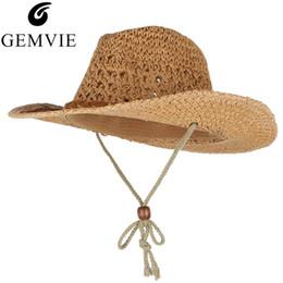 sombrero de vaquero de paja de papel Rebajas GEMVIE sombrero de vaquero Sombreros de verano para hombres de las mujeres de papel tejido paja de ala ancha del sombrero de paja ahueca hacia fuera la cuerda de seguridad del viento unisex Beach Sun