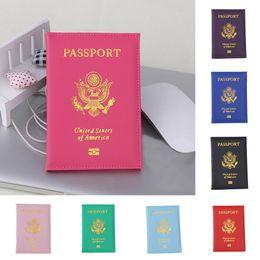 Carteira de passaporte rosa on-line-Viagem Bonito EUA Capa de Passaporte Mulheres Rosa EUA Passaporte Titular Americano Para Passaportes Meninas Caso Passaporte Carteira Pasaporte #