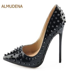 ALMUDENA Hot Sale Black Sexy Rivets Stiletto Heels Pointed Toe Patent  Leather Dress Pumps Women Ultra High Heel Studded Shoes 0c5f596fb6d7