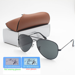 b951373a642 1pcs High quality Polarized glasses Men Women Designer Classic Retro Sunglasses  Sun Glasses Eyewear Gold Frame Brown Glass Lens 58 62MM lens