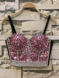 bcfac64c68 Queen Rhinestone Bead Bustier Pearls Diamond Push Up Night Club Bralette  Women s Bra Cropped Top Plus Size