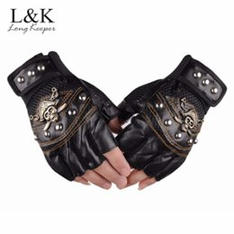 rebites de luva de couro sem dedos Desconto 2pair Long Keeper Skulls Rivet PU Leather Fingerless Gloves Men Women Fashion Hip Hop Women's Gym Gloves Half Finger Men's Fashion Gloves