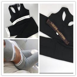 pantyhose de los deportes Rebajas Venta al por mayor venta caliente de las mujeres chaleco de yoga + leggings deportivos conjunto con pantimedias jogging yoga leggings deportes conjunto s-l entrega gratis