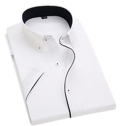 Vestidos formais desgaste escritório verão on-line-Homens de manga curta de negócios camisas formais homens botão colar preto linha camisa de vestido para o trabalho / desgaste do escritório estilo verão