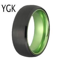 Jóias homens de alumínio on-line-Clássico Anéis Para As Mulheres Dos Homens de Jóias de Noivado Anéis De Noivado de Casamento Anel de Tungstênio Preto de Tungstênio com Anel de Alumínio Verde