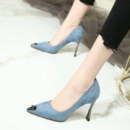 Темно-синие замшевые классические модные туфли для девочек женская обувь самые удобные дамы повседневная одежда туфли на высоком каблуке свадебные туфли на высоких каблуках от