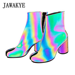 magic shoes high Promo Codes - Magic radiation sequined cloth ankle boots women split toes apart round high heels boots fashion nightclub party shoes woman
