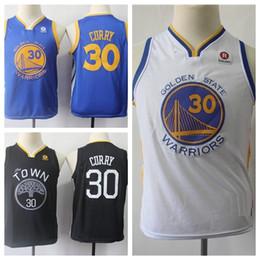 Curry azul amarillo online-oro niñosEstadoGuerreros # 30 StephenCurry jerseys del baloncesto juvenil Stephen Curry azul negra de los muchachos amarillas camisas cosidas