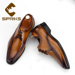 29930f8ebfd2e7 herren braune anzug schuhe Rabatt Sipriks Luxus Italienische Patina Braun  Kleid Schuhe Herren Vintage Klassische Lederschuhe