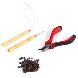 2019 kit de herramientas de extensión de cabello micro perlas 1 botella / 100Pcs Micro Hair Links Beads + 1Pc Aguja de tracción + 1Pc Ring Needle + 1Pc Agujeros Alicates Extensiones de cabello Juego de herramientas de cinta kit de herramientas de extensión de cabello micro perlas baratos