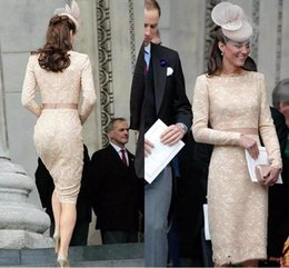 vestidos kate middleton Rebajas Elegante Kate Middleton, Champagne, vestidos de noche cortos para mujer, vestido hasta la rodilla, encaje, manga larga, cóctel de famosos, vestidos formales BC1434