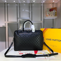 Borse da uomo di alta qualità borse moda vendita calda per mens lettera borse a tracolla in vera pelle per uomo n48260 37 * 28 * 6 cm da
