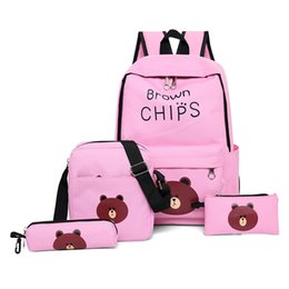 2019 mochila de oso pardo 4 Unids Lindo Oso Marrón Mochila de Impresión Mujeres Mochilas Para Adolescentes Niñas Mochila Escolar Conjunto Mujeres Lona Bolsos Escolares rebajas mochila de oso pardo