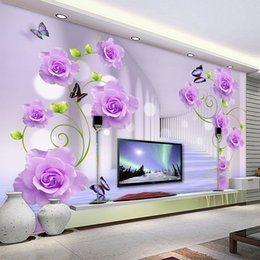 Paredes de papel de parede roxo on-line-Personalizado Wallpaper Photo Modern Purple Rose Flowers 3D estereoscópico Sala TV Sofa Fundo da parede Início Murais de parede 3D decoração
