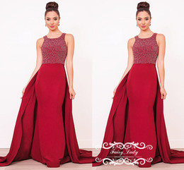 2020 cime di sera rosse per le donne Fabulous Red Overskirts Mermaid Prom Dresses 2019 Major Beading Top e Satin Gonna senza maniche Long Evening Dress Party For Women sconti cime di sera rosse per le donne