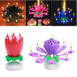 2019 lâmpada flor de lótus Nova Arte Girar Musical Vela Flor de Lótus Feliz Aniversário Presente Do Partido Luzes Rotativas Decoração 8/14 Candles Lamp lâmpada flor de lótus barato