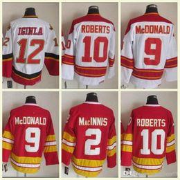 2019 pullover vintage nhl 2018 Camicia uomo NHL 12 IGINIA 9 ROBERTS McDONALD10 2 MacINNIS Maglie da hockey vintage CCM rosso bianco 100% cucite alta qualità pullover vintage nhl economici