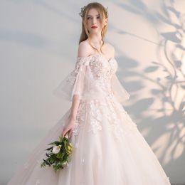 Weißes sleeved hochzeitskleid online-Brautkleid neue Spitze Sommer neue Brautkleid langärmeliges Brautkleid