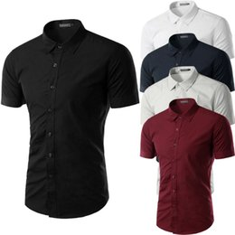 Robes formelles manches pour le travail en Ligne-Mode Hommes Slim Fit Chemises à manches courtes Homme British Business Work Tenue Hauts T-shirt décontracté Outwear massif Shirets