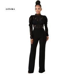 c0a88c5b5fef Echoine Women Jumpsuits Sexy Floral Lace Hollow Out Stand Neck Long Puff  Sleeve Wide Legs Pants Party Club Rompers Ladies Outfit on sale