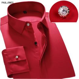 Chemises habillées en fibre de bambou en Ligne-PAULJONES 2018 Nouvelle Arrivée Hommes À Manches Longues Robe Chemises Respirant Qualité Business Shirt Chemise Mâle Blanc Social Fibre De Bambou # 389294