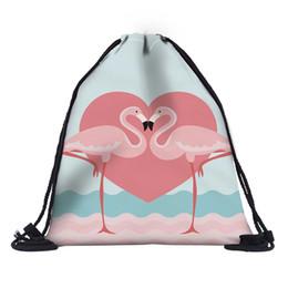 Фламинго печатает Drawstring рюкзак полиэстер Пляжные сумки открытый дорожные сумки строка мешок хранения подпруга мешок спортивная обувь сумка от