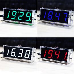 módulo de visualización de pantalla led Rebajas Digital Alarm Clock Digit DIY Kit de reloj electrónico Módulo LED Control de luz Temperatura Fecha y hora Pantalla grande para mesa de escritorio