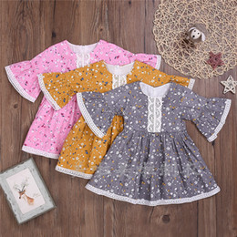 tulle flower puffs Coupons - Newest INS Little Girls Lace Floral Rompers Puff Long Sleeve Lace Round Collar A-line Ruffles Flower Printing Cotton Children Girls Dresses