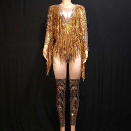 2019 ballerina d'oro spandex Oro frange Strass Sexy Body Donne Jazz Dance Big Stretch tuta Dancer Outfit Evening Show costume sexy di usura DJ528 ballerina d'oro spandex economici
