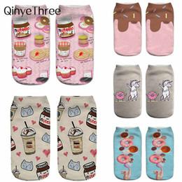 calze kawaii Sconti 2019 New Donut Nutella Fruit Printi 3D Socks Donna Kawaii Ankle Cute Emoji Funny Socks Happy Calcetines Unisex sokken