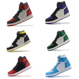 caja china de satén Rebajas Nuevo 1 High OG Bred Toe Chicago Banned Game Royal Basketball Shoes Hombres 1s Top 3 Shattered Backboard Shadow Multicolor Sneakers