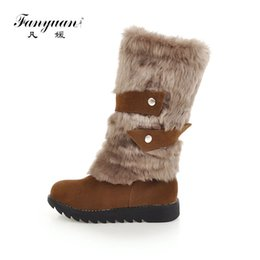 1c881b8f8754 Fanyuan Women Boots Flock Ladies Shoes Fashion Winter Plush Warm Slip-On Snow  Boots belt Rivet Flat Platform Mid-Calf Boots