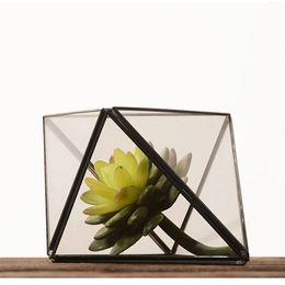 Candela del tè nero online-Elegante ottaedro Air Plant Terrarium Geometric Glass Succulente Fioriera Rhomb Black Brass Tea Light Portacandele Flower Vase